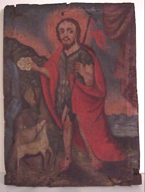 5012: 17/18thc Latin American portrait of a Saint, oil