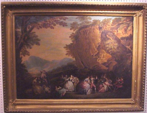 5024: After Watteau, 19thc copy, 18thc French figures i