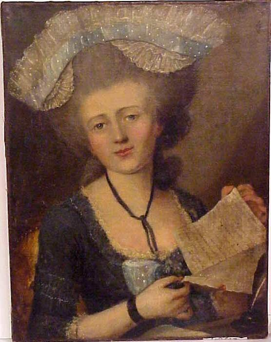 5019: 18thc Portrait of a Lady reading a letter, oil on