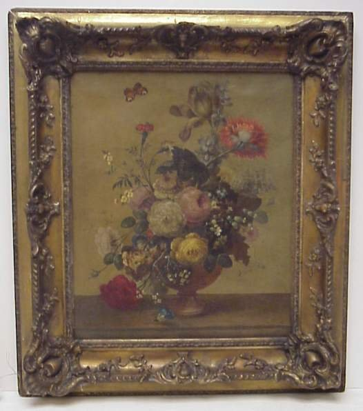 5020: Old Master still life with flowers, oil on canvas