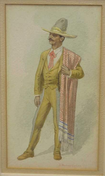 5008: Early 20th C watercolor of a Mexican gentleman,