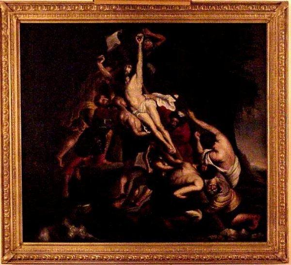 5017: 18/19th C Old Master Crucifixion scene, oil on  c