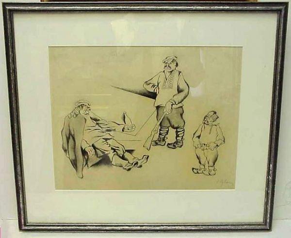 5007: Issachar Ryback (1897-1935, Russian) Three Russia
