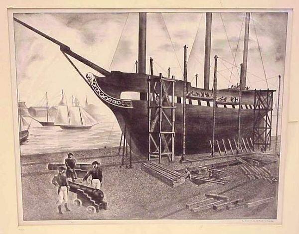 5016: Louis Lozowick (Russian/Amer) Ship Building, lith
