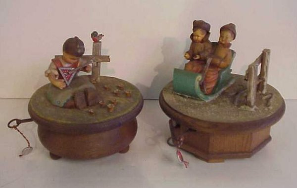 3008: 2 Swiss Anri carved wood music boxes, bothe lable