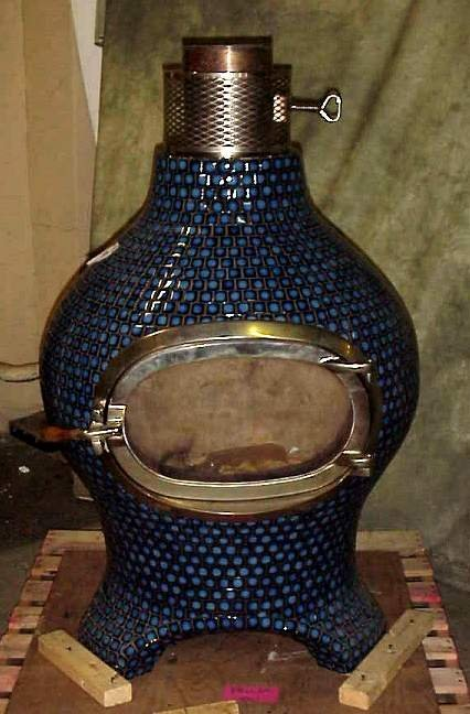 3010: Blue tile beehive shape wood stove, probably  Sca