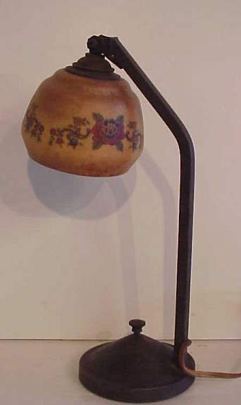 3033: Bronze piano lamp with paint decorated & floral