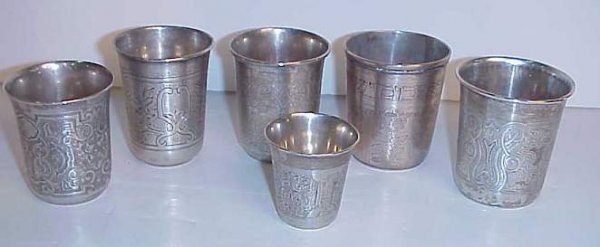 3037: 5 Russian silver kiddush cups and a shot cup,  ha