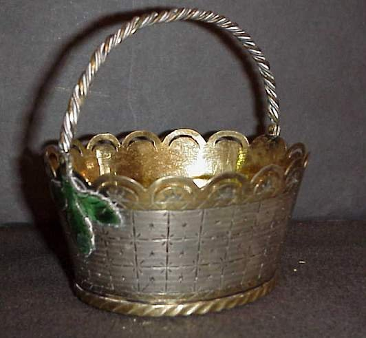 22: Russian brass and silver plate (?) basket with  ena