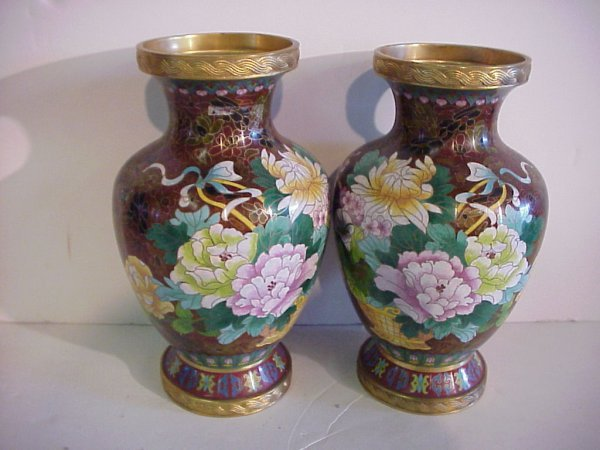 39: Pair of Chinese bronze and cloisonne vases with  fl