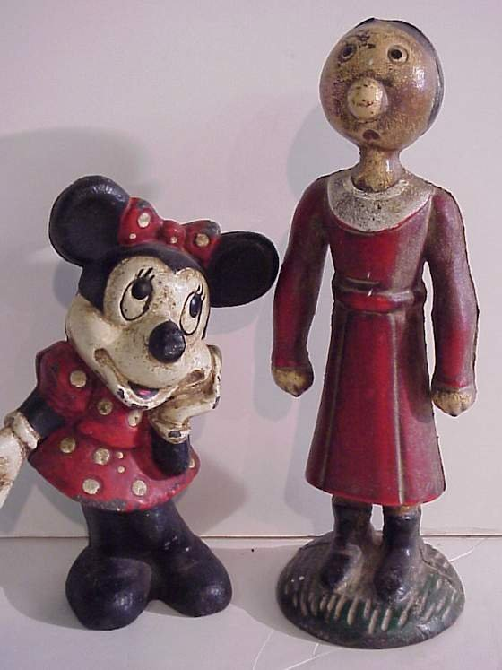 6: Two painted cast iron still banks - Minnie Mouse  (8