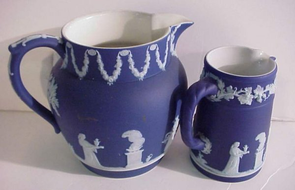 "18A: 2 Wedgwood Jasperware pitchers, 5""h, 4""h, marked"