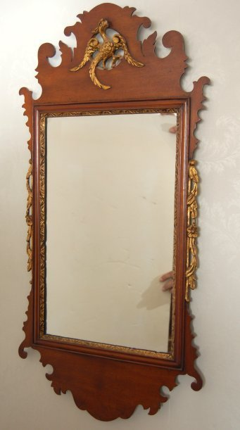 31: London maker Chippendale style Eagle carved  mirror