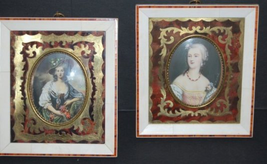 187: Two hand painted miniature portraits in boulle  fr