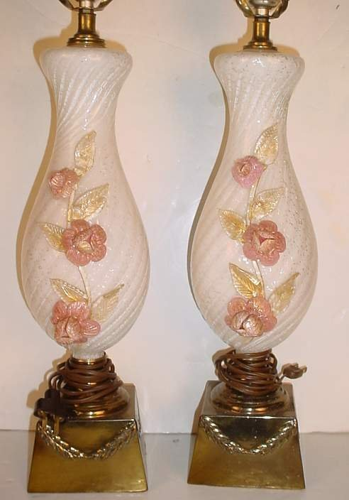 27: Pair of Venetian glass tricolor table lamps with  a