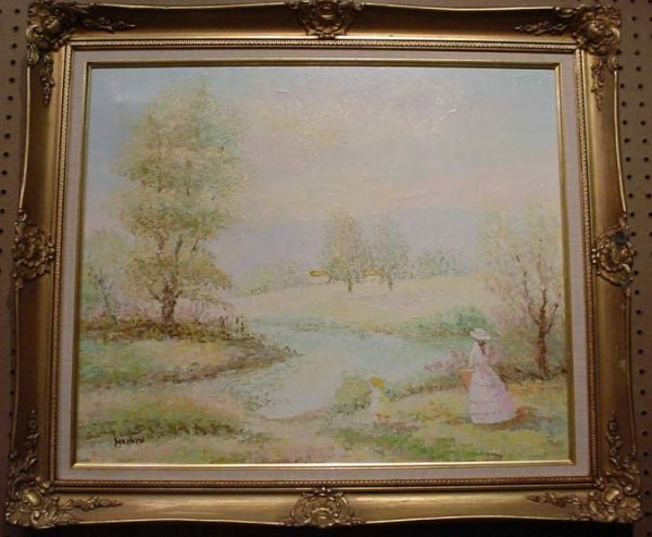 36: Impressionistic landscape with a woman, oil on  can