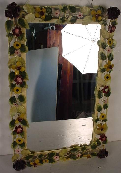 "38: Floral tole mirror 24"" x 15"", mid/late 20thc"