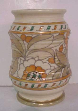 1009: Crown Ducal Charlotte Rhead pottery vase with  lu