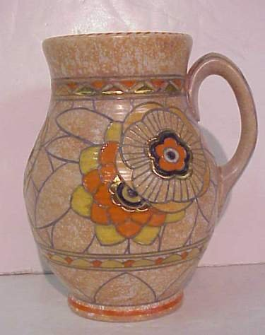 1011: Crown Ducal Charlotte Rhead pottery pitcher with