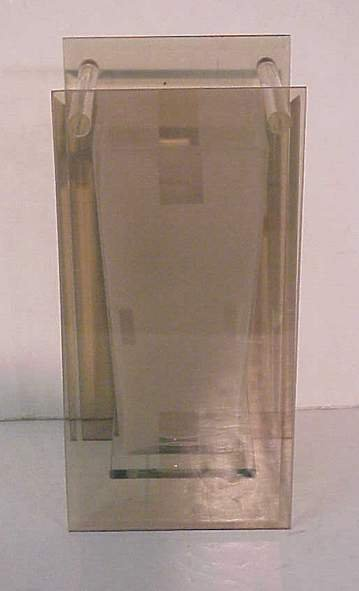 1016: Frosted art glass vase mounted in glass frame, 13