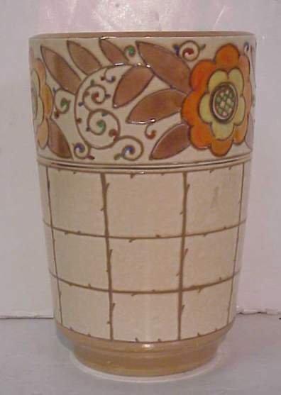 "1022: Burleyware Charlotte Rhead Art Deco vase 8 1/4"" x"