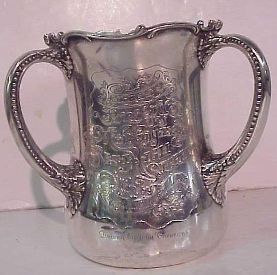 1074: Sterling silver three handle loving cup, inscribe