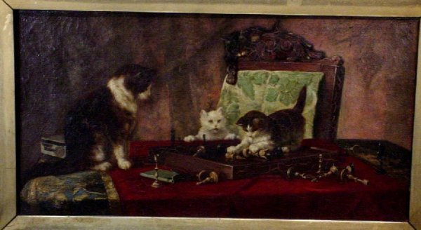 1157: Genre scene of a cat with kittens playing with a