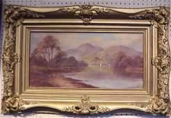 1277: Hudson River School lake and mountain landscape