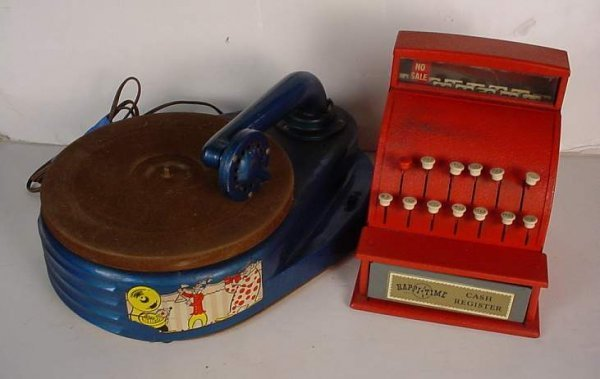 1008A: 2 Vintage tin toys - Happi-Time cash registerm