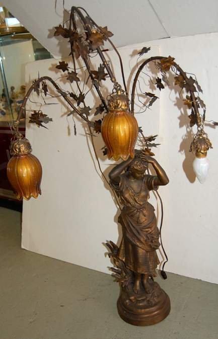 1021A: Art Nouveau figural metal lamp , neo classic  wo