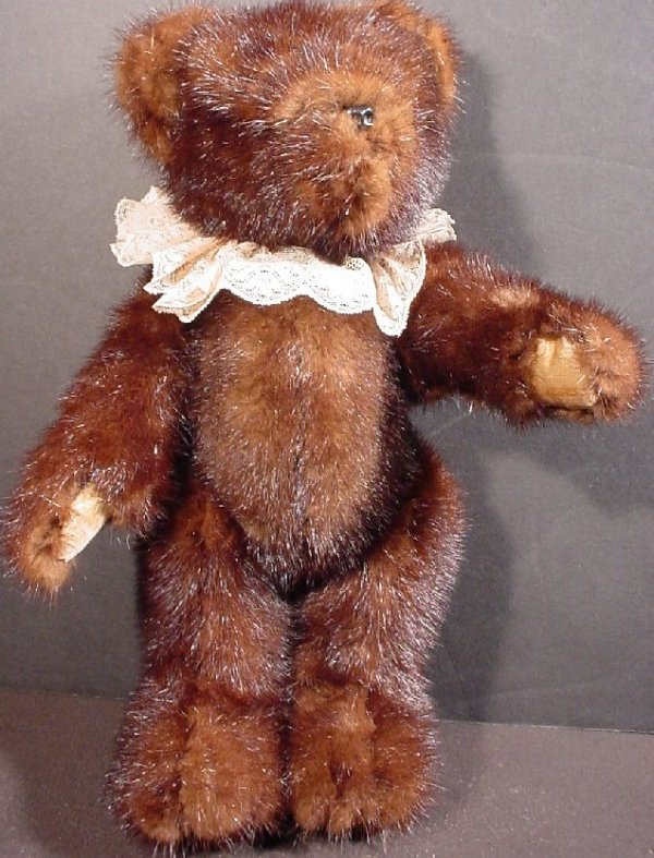 "1001: Teddy bear stuffed animal with mink fur, 14 1/2""h"