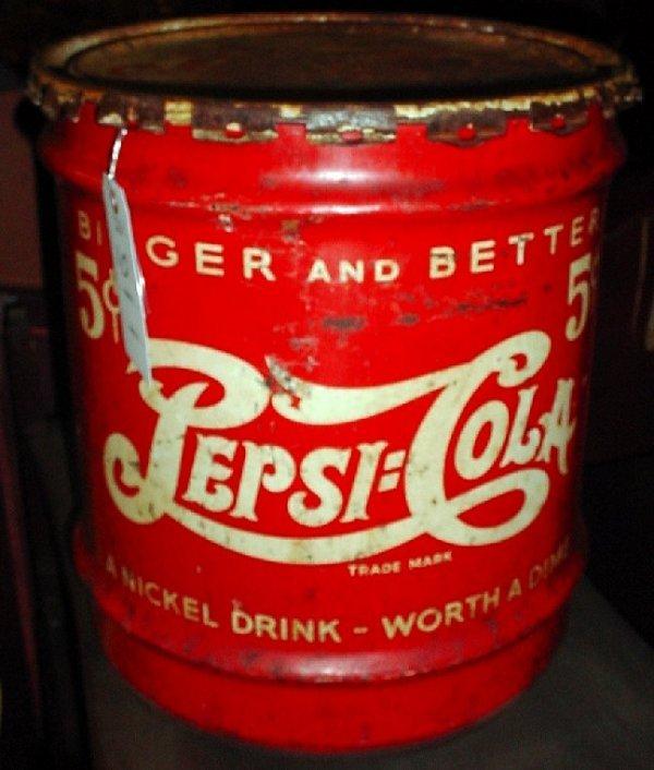 """1010: Vintage Pepsi syrup can / cooler, 17""""h, 15""""d, som"""
