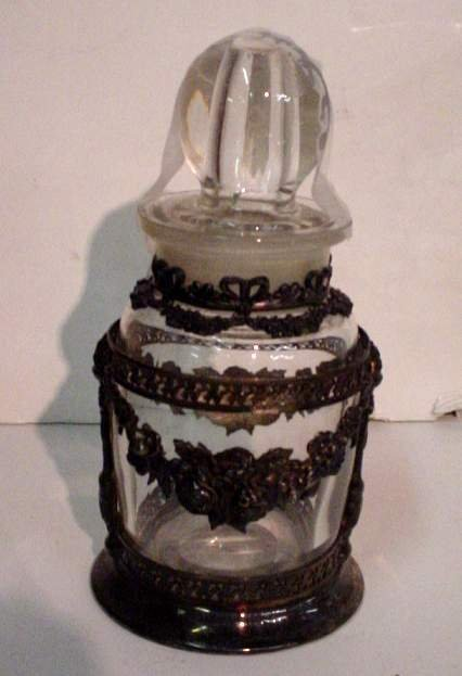 """2013: Cross, London silverplate and glass bottle 6""""h"""