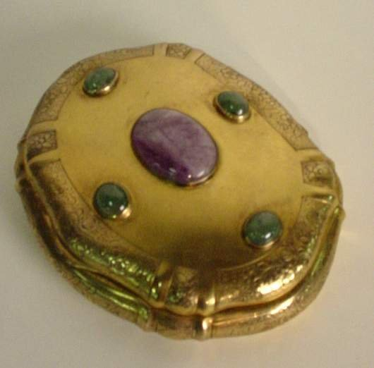 2017: Continental silver vermeil box with cabochon jade