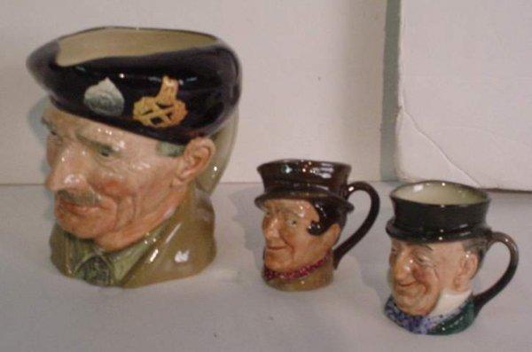 """2034: 3 Royal Doulton toby mugs, """"Monty"""" / Lord  Mountb"""