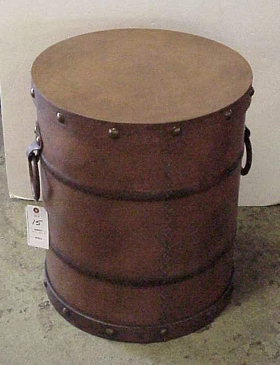 """2015: Round brass studded leather box, 22""""h, 18 1/2""""d"""