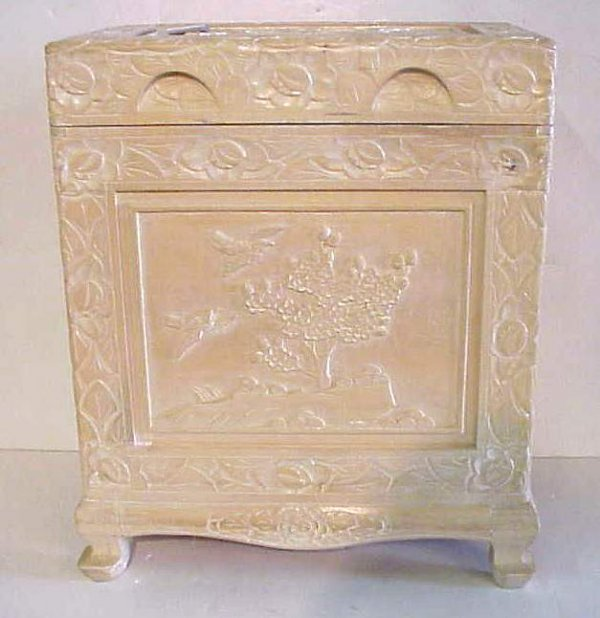 2020: Carved Asian camphor wood lift top lingerie box o