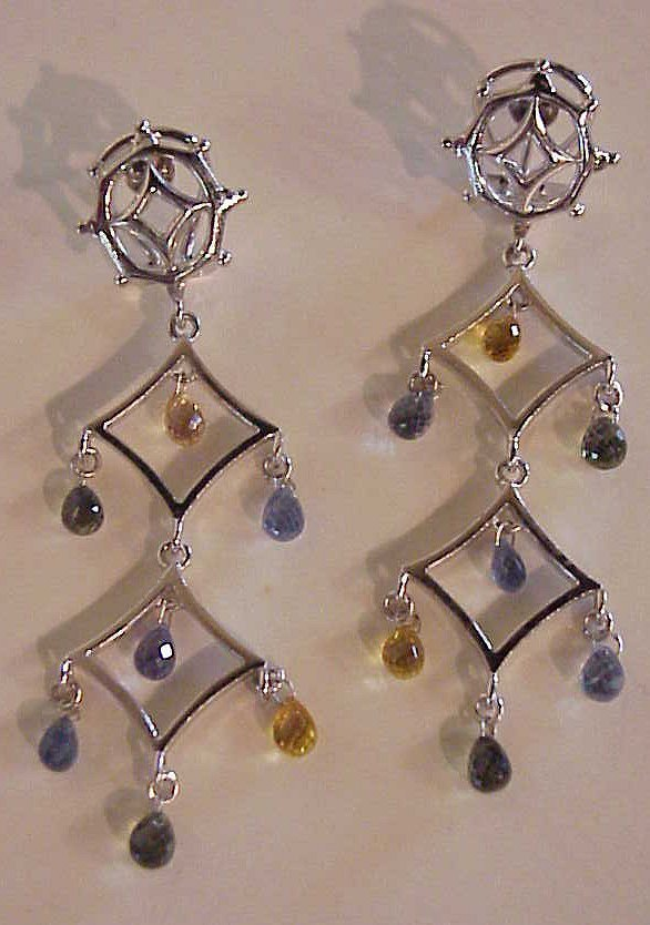"""2025A: 18k gold and natural sapphire earrings, 2 1/2""""l"""
