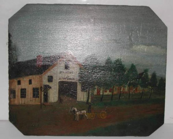 "2036: Merican Folk Art Painting "" Englewood"" , oil on"