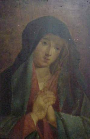 "1A: 19THC MADONNA, OIL ON PANEL, 25"" X 16 1/2"", UNSIGNE"