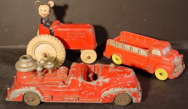 """4: 3 vintage toys; Mickey Mouse """"Mickey's Tractor"""" 4  1"""