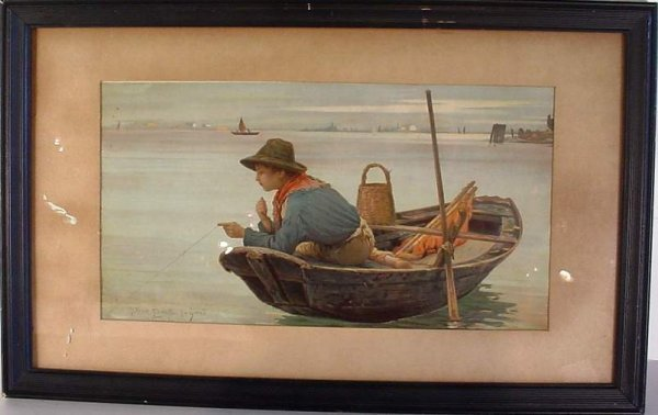 7: Early 20thc chromolithograph of a young boy  fishing