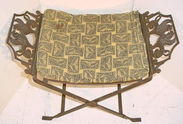 "18: Persian iron folding oasis bench, 18""h, 24""w"