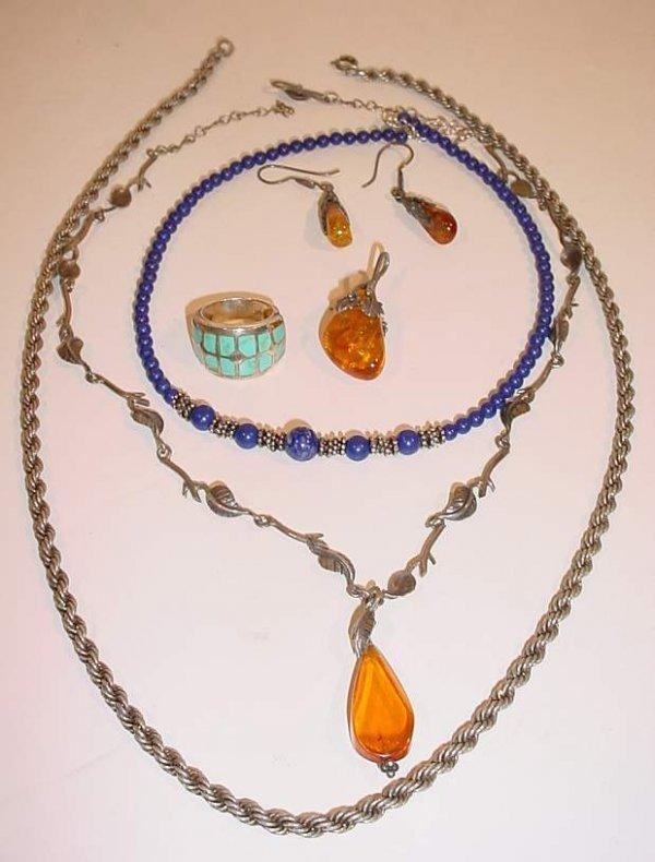 8A: Jewelry lot: silver & amber necklace & pr  earrings