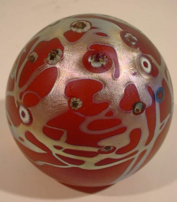 10A: LC Tiffany Favrile paperweight, iridescent purple