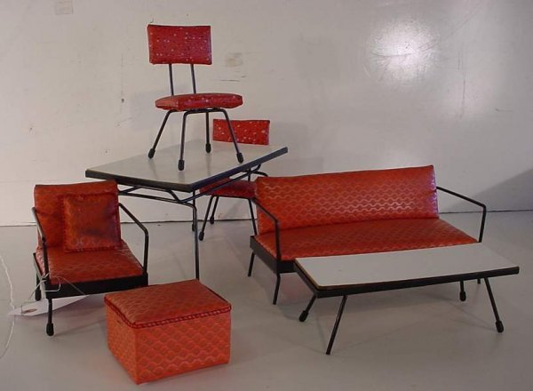 22A: Group of mid century modern miniature furniture.
