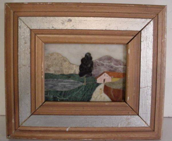 """2: Small pietra dura landscape plaque, framed 6 3/4""""  x"""