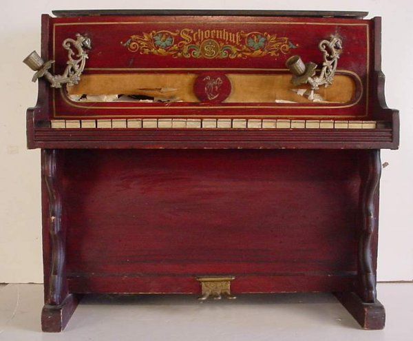 29A: Schoenhut child's piano with candelabra, as is  co