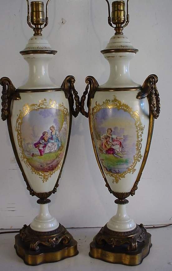 127A: Pair Old Paris type Painted porcelain  scenic  va