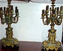 145 Pair of Louis XVI style bronze candelabra lamps